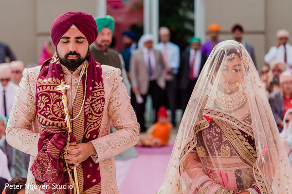 Indian bride and groom having a spiritual moments