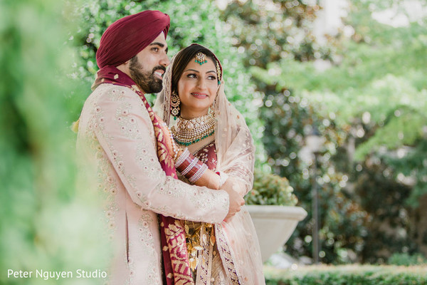 Indian groom and bride having a tender moment