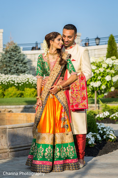 Indian bride posing with Indian groom