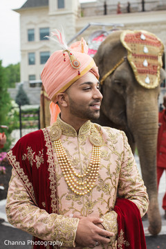 Indian groom and elephant