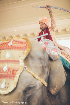 Indian groom riding the elephant