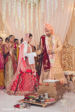 Indian bride and groom at the ravishing ceremony