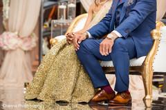 Detail of Indian newlyweds wardrobe