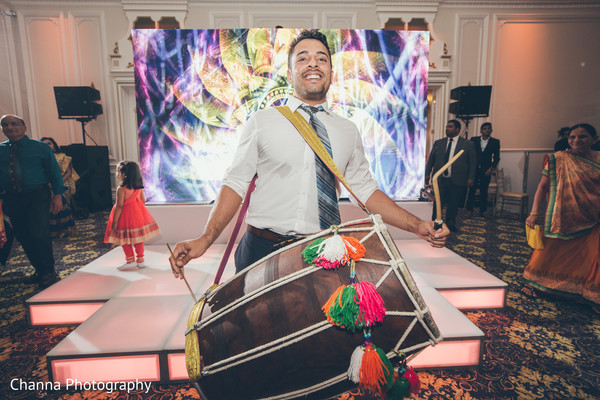 Dhol player during the reception