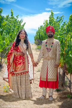 Outdoor capture of Indian newlyweds