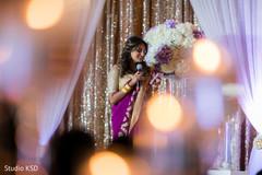 Joyful Indian bridesmaid speech capture.