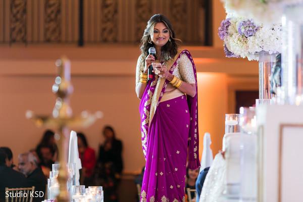 Indian bridesmaid fun moment.