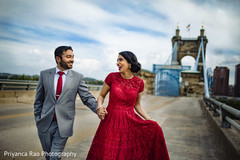 Indian groom and bride outdoors