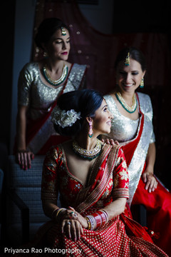 Indian bride with her bridesmaids