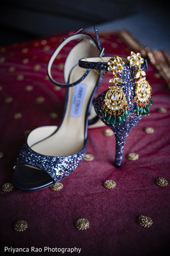 Detail of shoes to be used by Indian bride