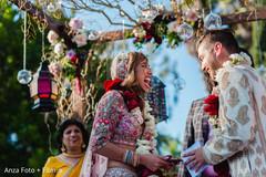Indian bride joyful during the ceremony