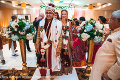 Indian couple exiting their wedding ceremony
