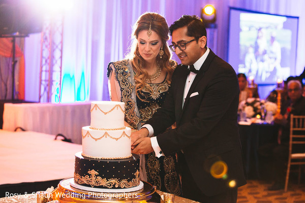 Indian wedding cake cutting scene