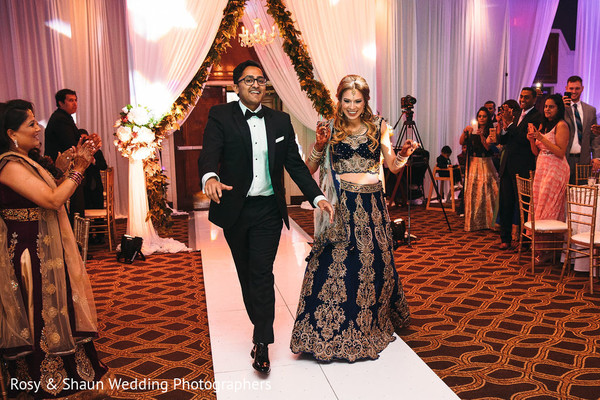 Indian newlyweds making their entrance