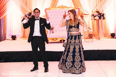 Indian newlyweds dancing and having fun