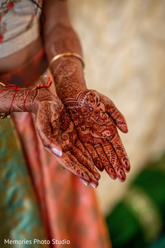 Detailed Indian bridal hands mehndi art.