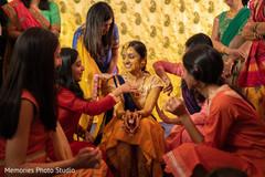 Perfect Indian pre-wedding haldi celebration.
