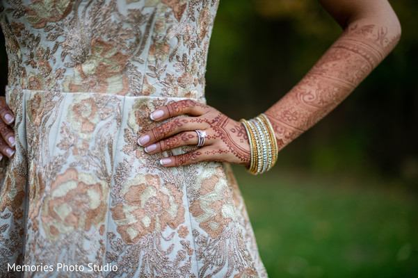 Gorgeous Indian bride posing for photo shoot.