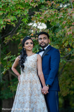 Indian couple outdoors photo session.