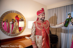 Indian groom ready and celebrating capture.