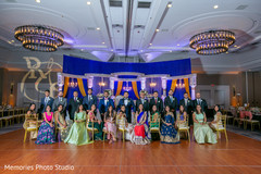 Wedding reception of Indian couple with bridesmaids and groomsmen.