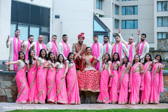 Outdoor themed indian bride,groom with groomsmen and  bridesmaids.