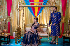 Fabulous Indian bride and groom's sangeet photo session.