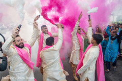 Colorful Indian baraat celebration capture.