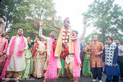 Upbeat Indian groom's baraat celebration.