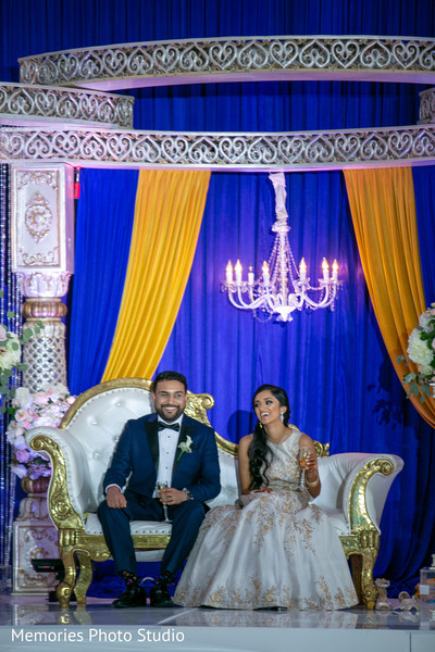 See this Indian couple at their reception celebration.