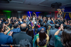 Indian wedding reception upbeat dance.