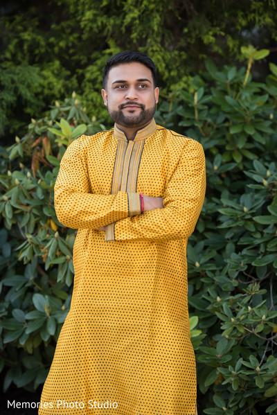 Indian groom's pre-wedding fashion.