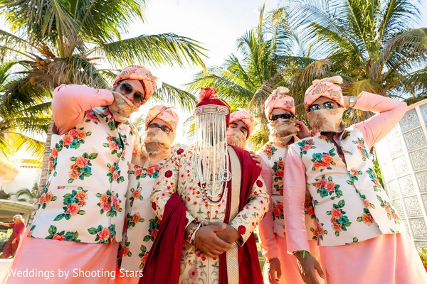 Enchanting Indian groom and groomsmen at the baraat celebration.