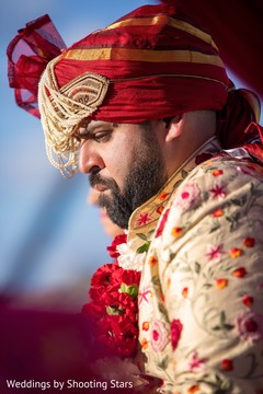 Indian groom at his ceremony closeup capture.