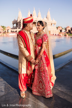 Indian couple at their wedding location photo session.