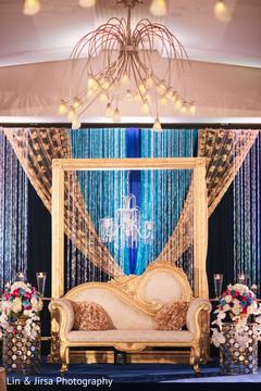 Unique Indian wedding reception stage setup.