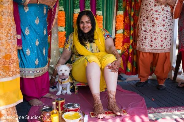 Maharani posing with pet