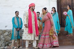 Indian bride and groom with special guests