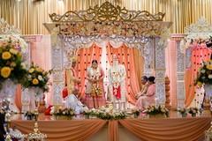 Indian newlyweds under the mandap