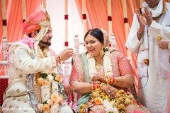 Indian groom and bride at the ceremony venue