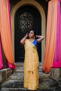Indian bride posing for her pre-wedding photo shoot.