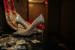 Elegant Indian bridal ceremony shoes.