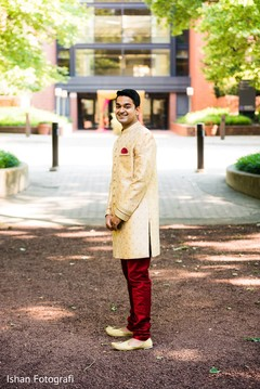Indian groom waiting for bride photo.