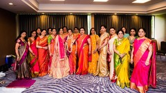 Marvelous photo of Indian bride with bridesmaids and relatives.