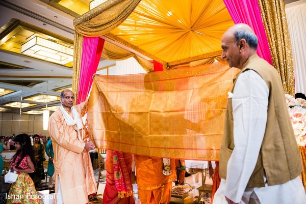 Indian groom about to meet bride at ceremony.