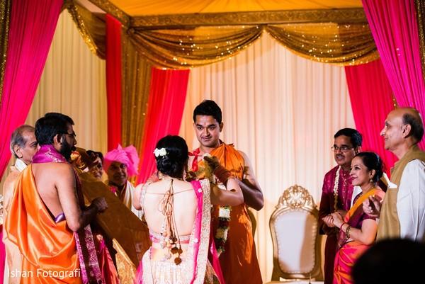 Maharani and Rajah during the varmala ritual.