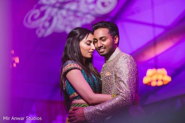 Indian couple's romantic capture at sangeet.
