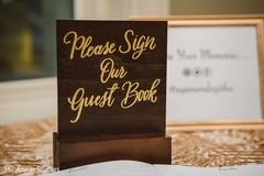 Elegant Indian wedding guest book sign.