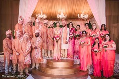 Incredible Indian couple with bridesmaids and groomsmen photo.