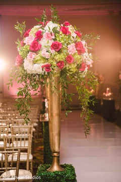 Incredible Indian wedding ceremony aisle flowers decoration.